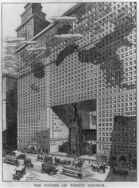 The Future of Trinity Church-NYC-That Never Was-Wall Street-Broadway-Equitable Building-Albert Levering 1907
