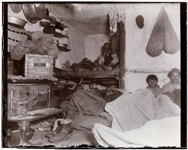 1890 Lodgers in Crowded Bayard Street Tenement-Lower East Side-Jacob A. Riis-NYC