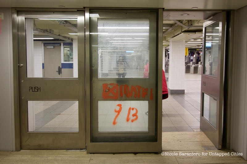 After E and C train straphangers pass through the turnstiles of the World Trade Center subway stop \u2014 before they enter into the modern arches of the Oculus ... & A Door in the World Trade Center Subway Station is a Remnant of 9/11 ...